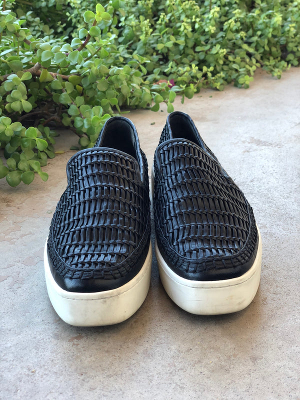 Vince Basket Weave Leather Sneakers | Size 38.5