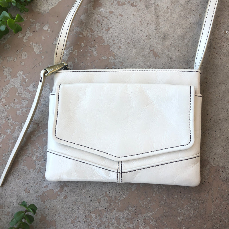 Hobo Cream Leather Crossbody Bag