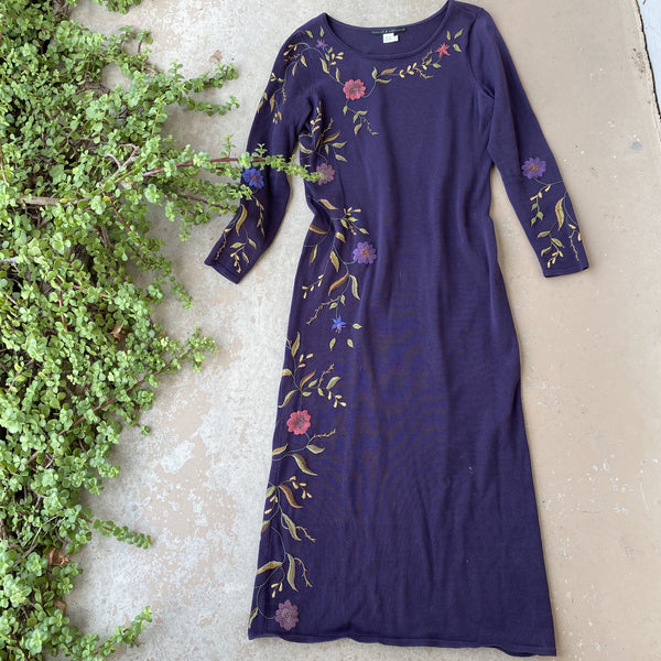Peruvian Connection Purple Embroidered Dress, Size Small
