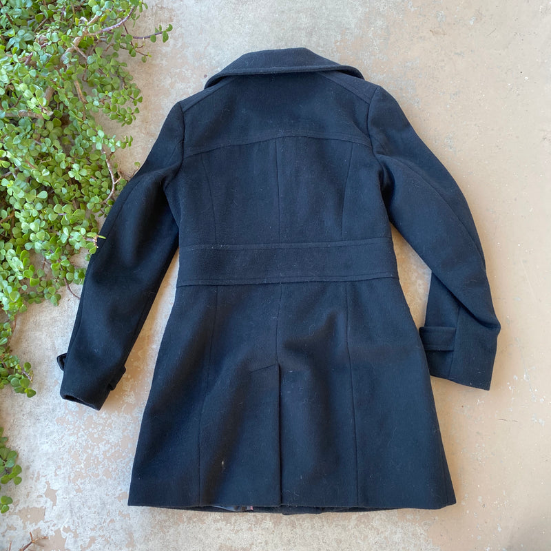 Cole Haan Black Wool Trench Coat, Size 4