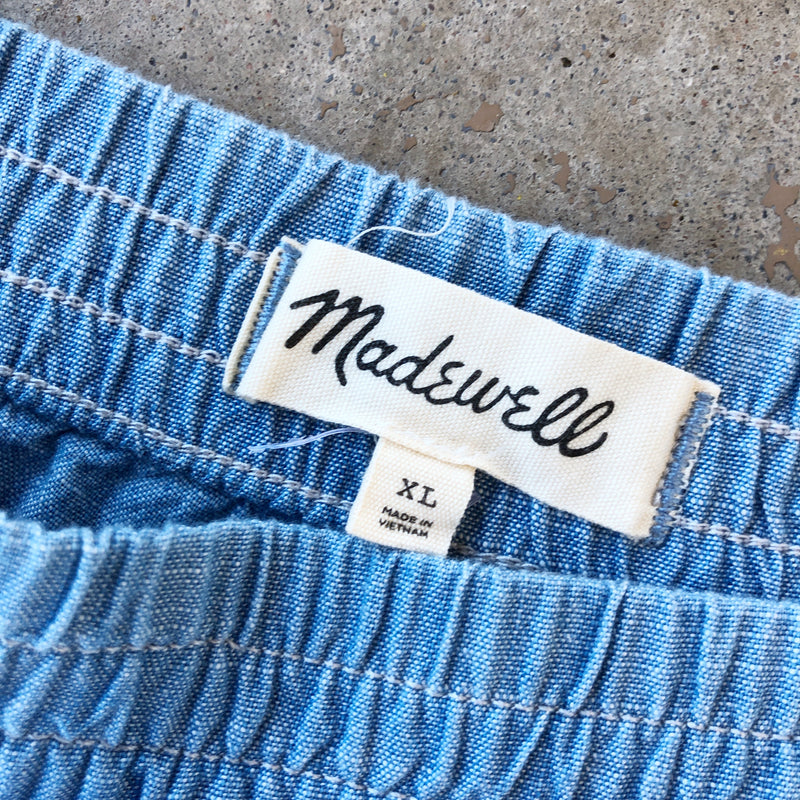 Madewell Chambray Shorts, Size XL