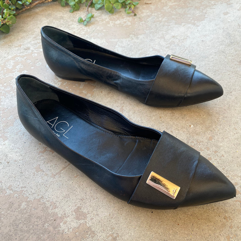 AGL Black Leather Flats, Size 39 (US 9)
