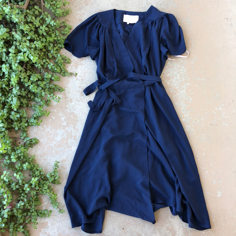 Gal Meets Glam Navy Wrap Dress, Size 8