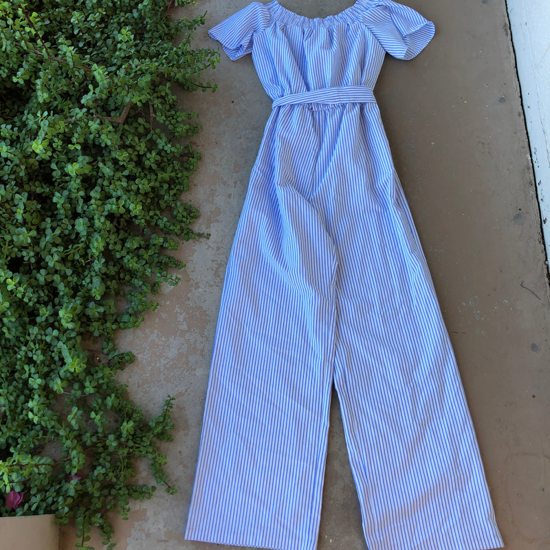 Charles Henry Striped Jumpsuit, Size Extra Large