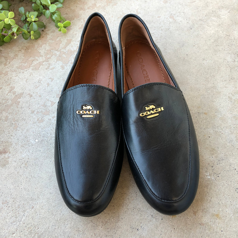 Coach Black Leather Loafers, Size 5