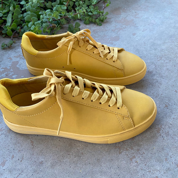 CLAE Yellow Leather Sneakers, Size 5