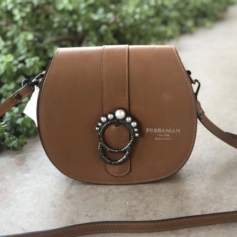 Persaman NY Cognac Leather Saddle Bag