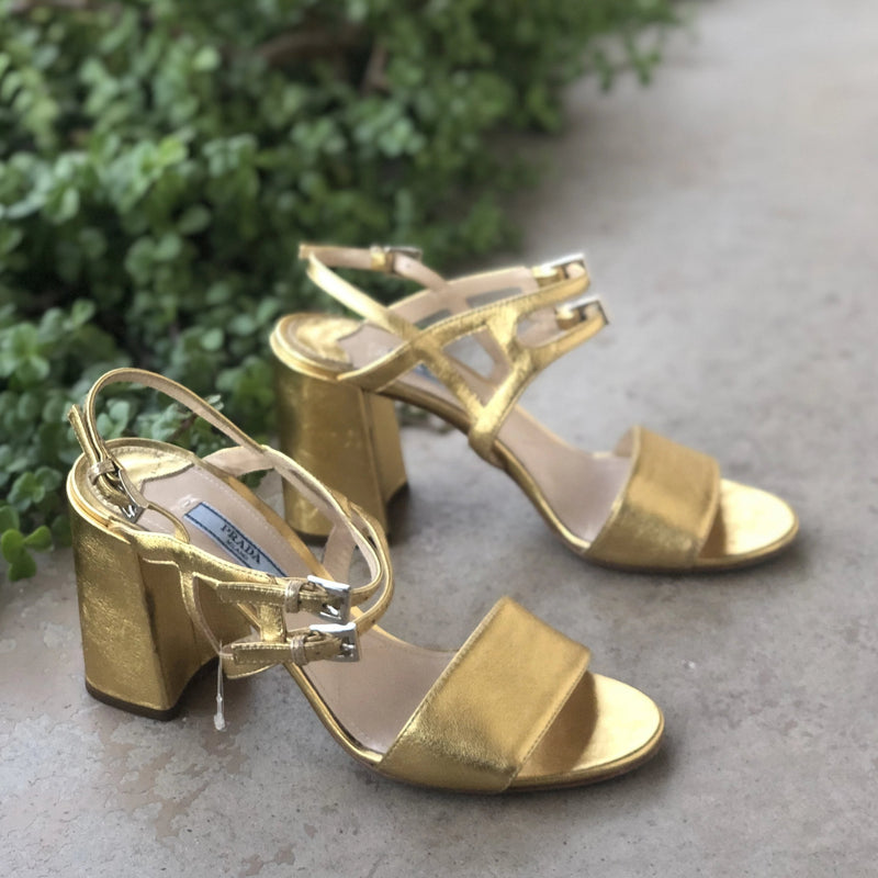 Prada Gold Block Heel Sandals, Size 38.5