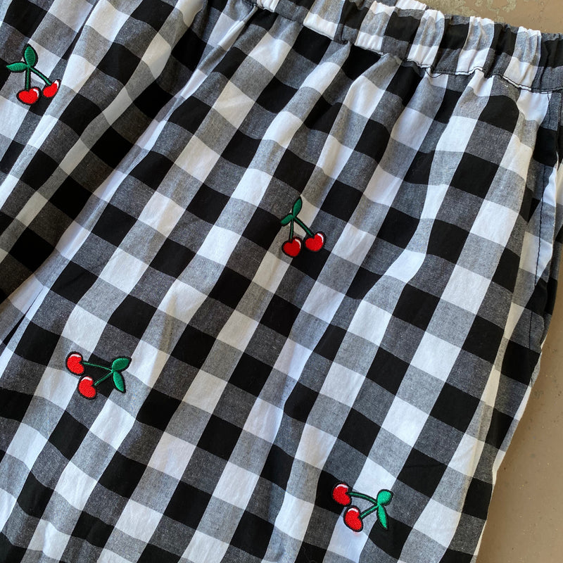 Lazy Oaf Gingham Cherry Crop Pants, Size 18