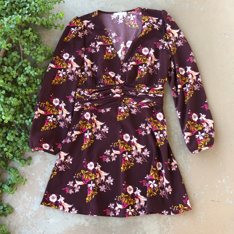 Chelsea 28 Maroon Floral Dress, Size Medium