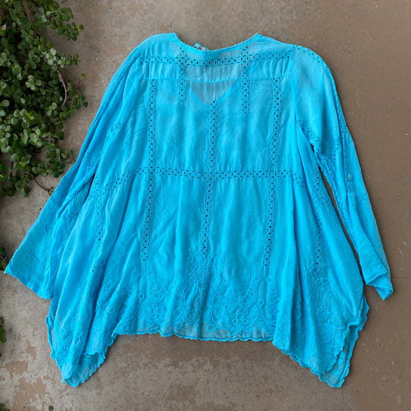 Johnny Was Blue Tunic Top, Size Small