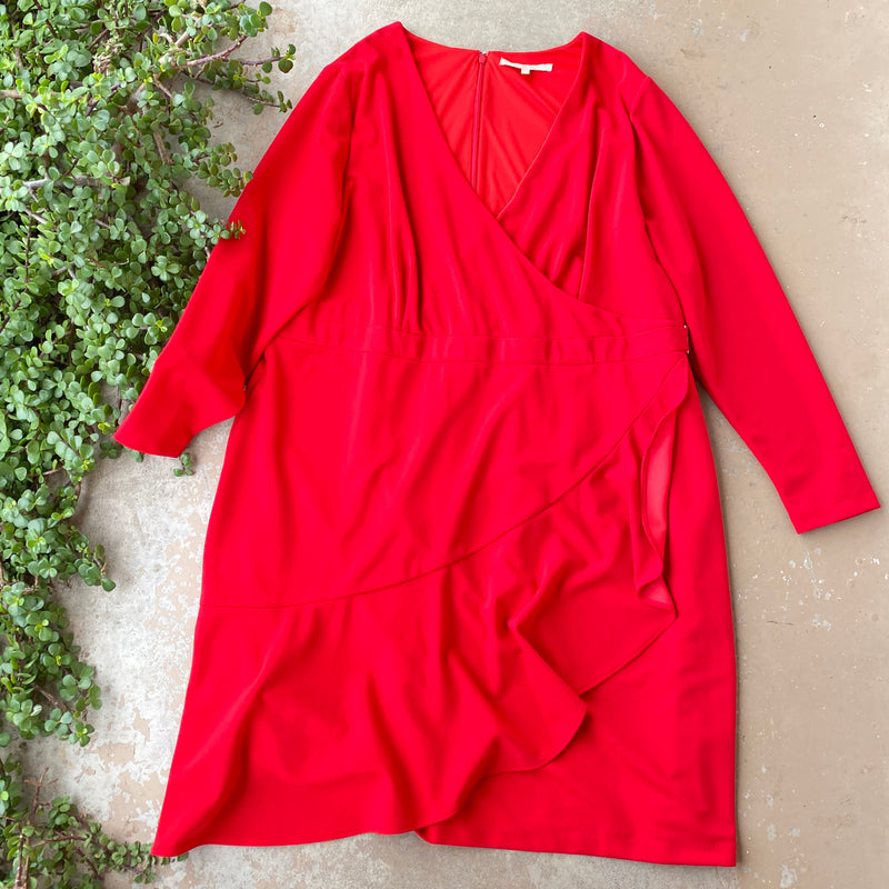 Hutch (Anthro Brand) Red Faux Wrap Dress, Size XL