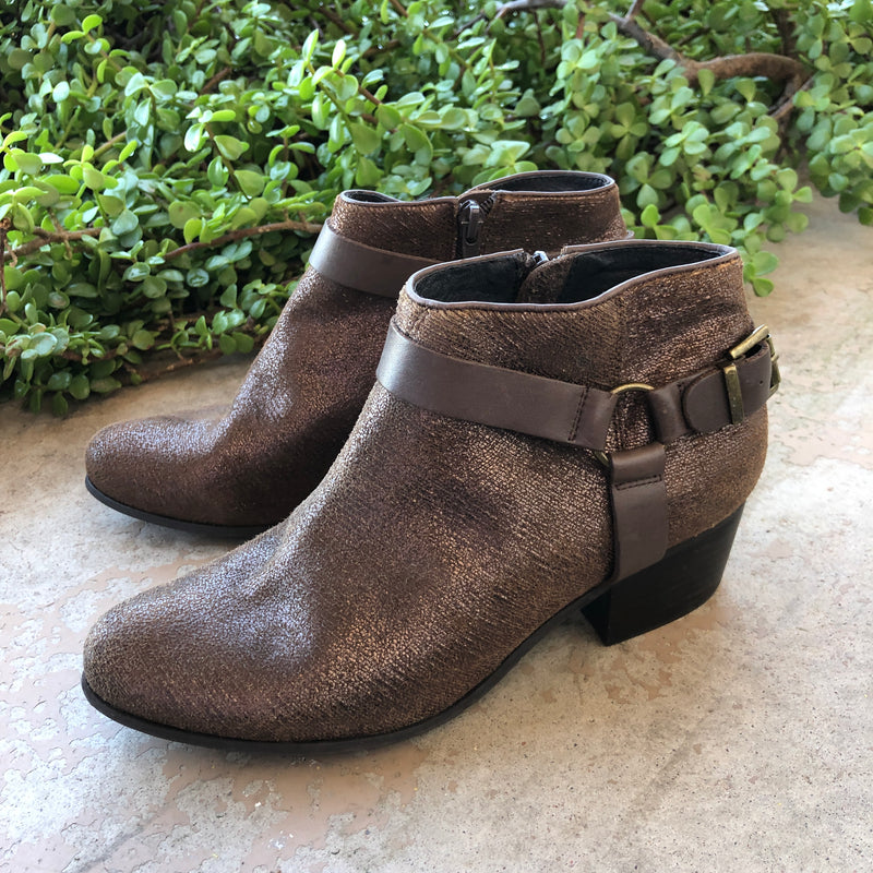 Vaneli Brown Gold Leather Booties, Size 7.5