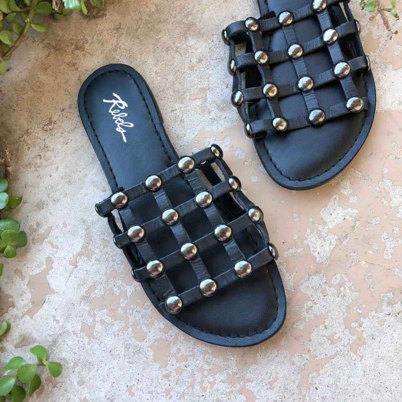 Rebels Leather Caged Sandals, Size 6
