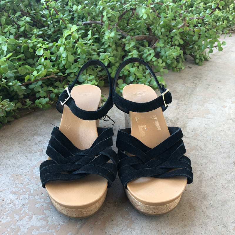 UGG Velvet Cork Wedges, Size 9.5