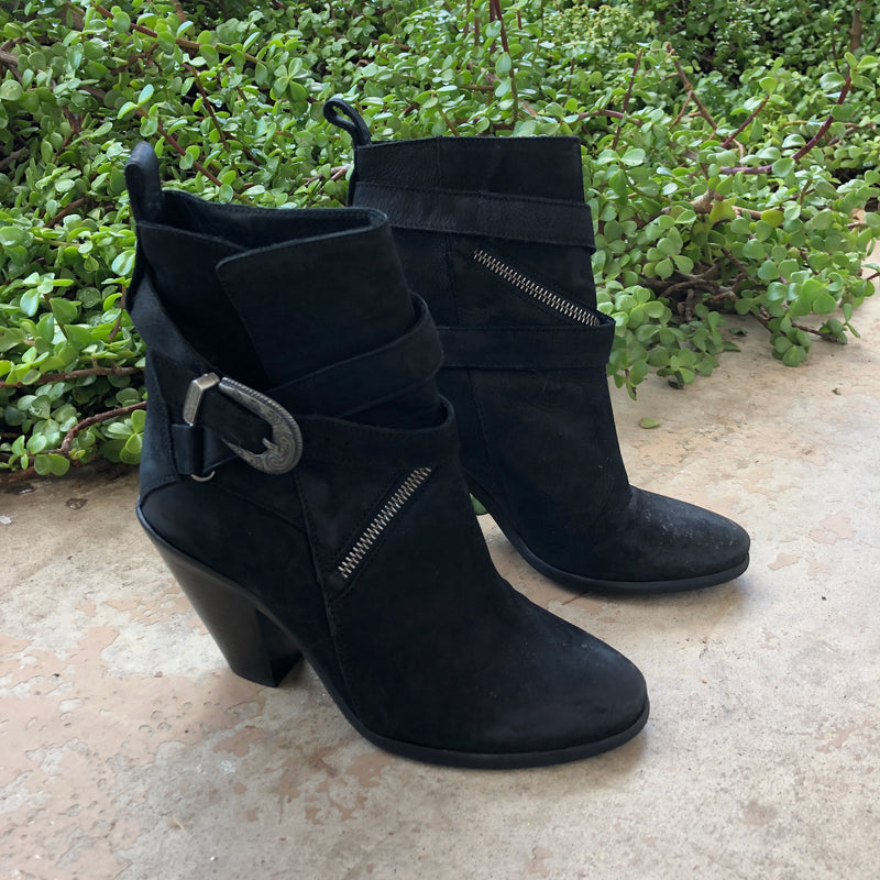 AllSaints Black Leather Buckle Booties, Size 37/US 7