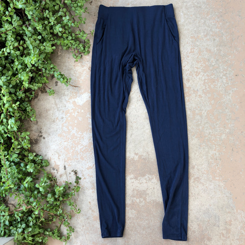 Lunya Navy Draped Joggers, Size Small