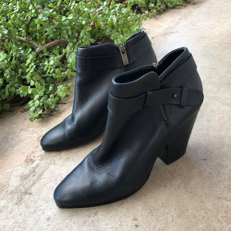 Dolce Vita Black Leather Booties, Size 9.5