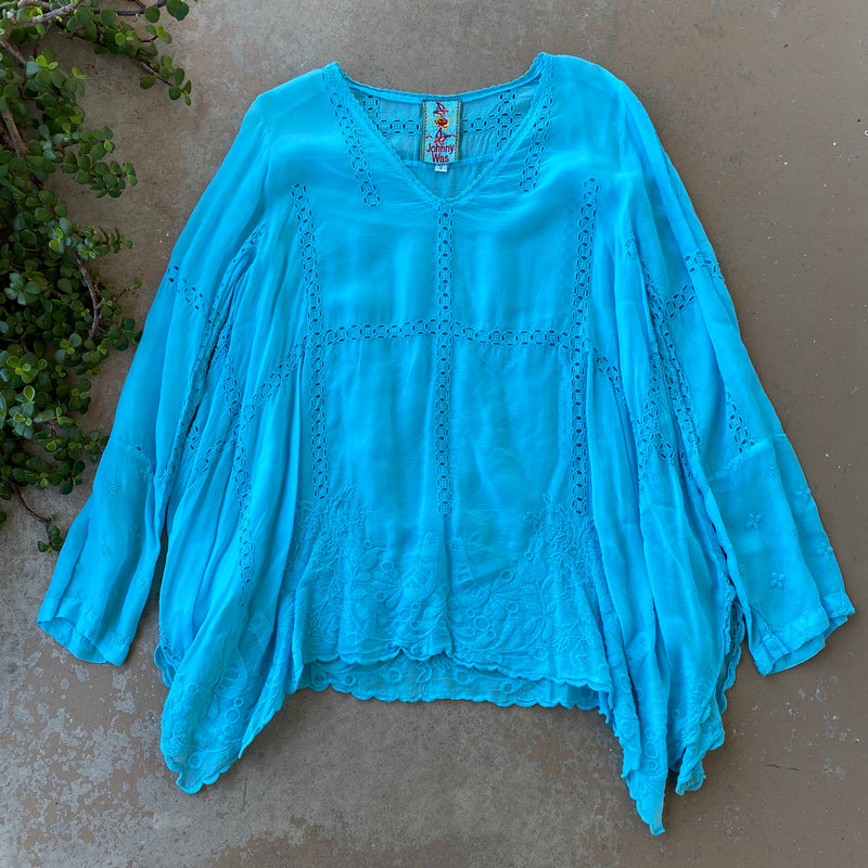 Johnny Was Blue Top, Size Small