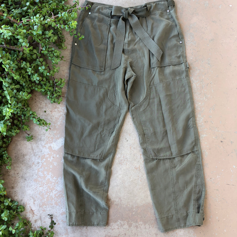 Rag & Bone Green Silk/Lyocell Pants, Size 6