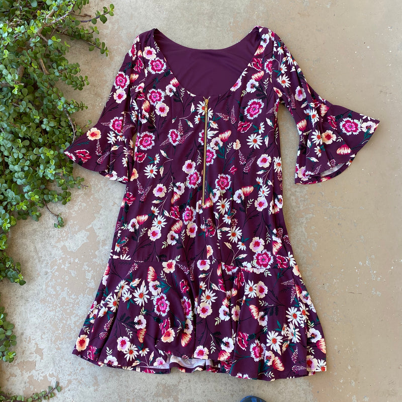 Eliza J Maroon Floral Dress, Size Med/Large