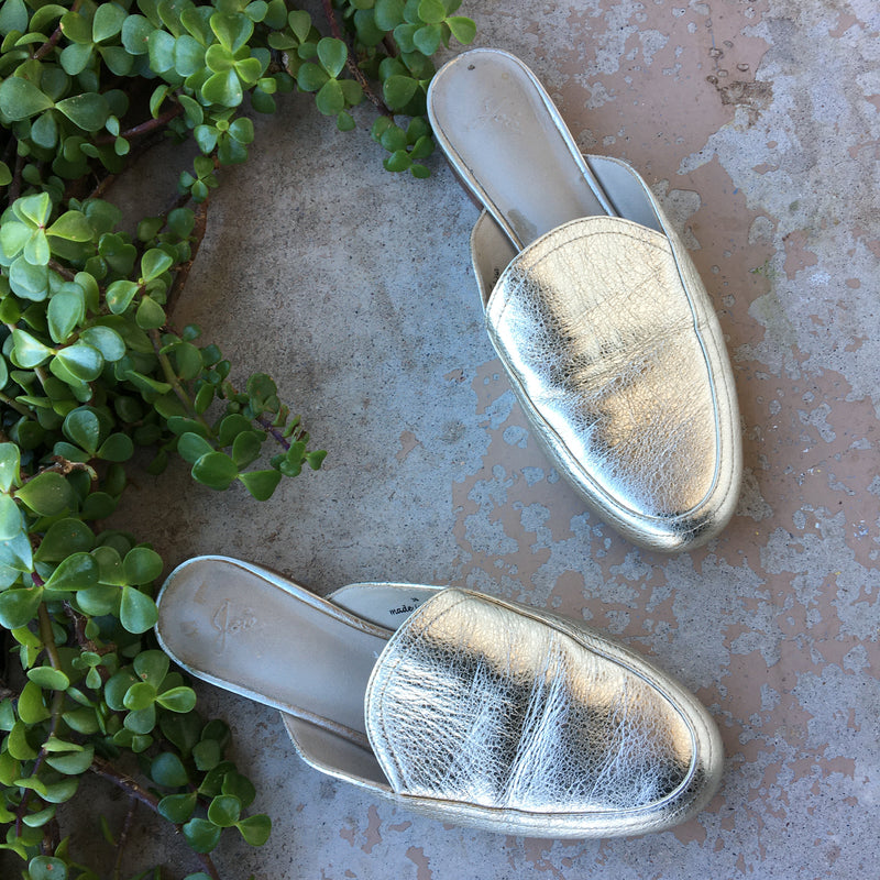 Joie Gold Mules, Size 36/US 6