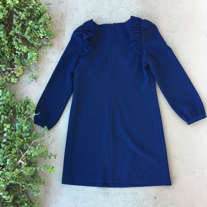 Chelsea 28 Navy Ruffle Dress, Size 4