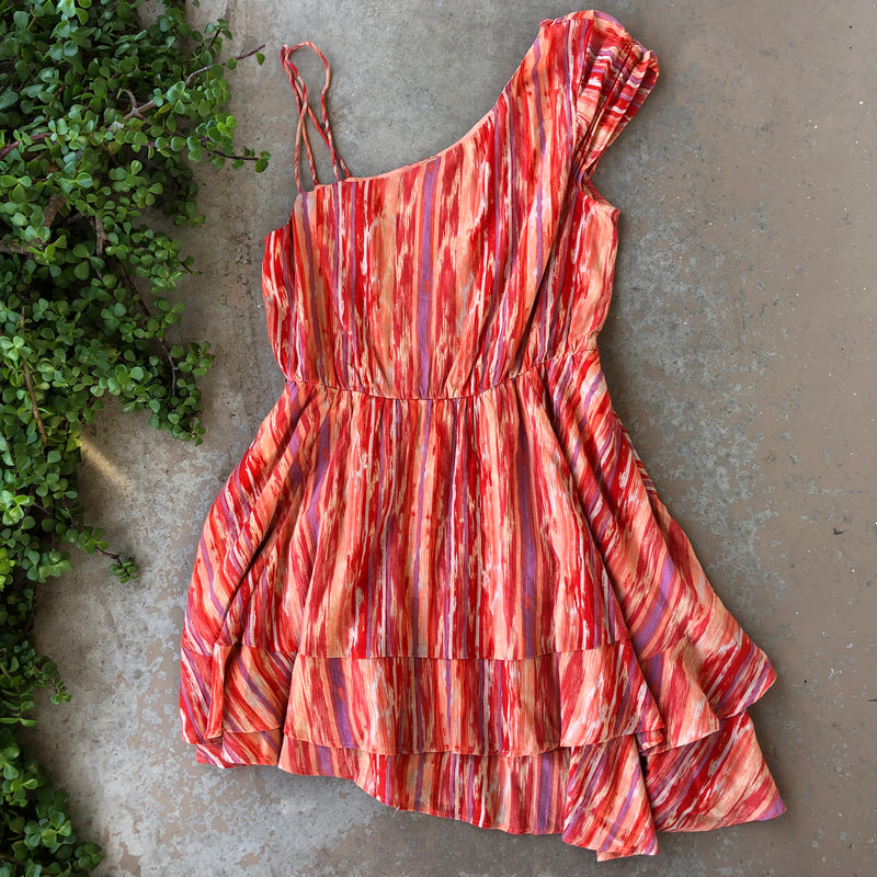 Free People Red Asymmetrical Dress, Size Large