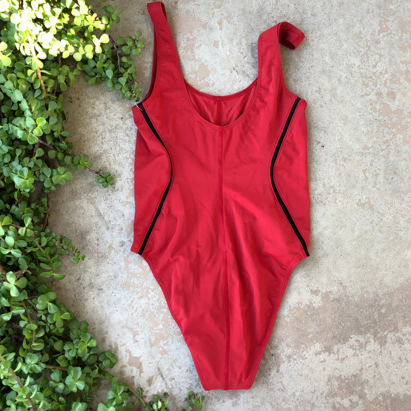 Good American Red Compression Bodysuit, Size Medium