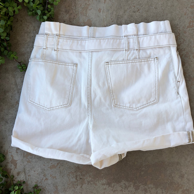 Free People Cream Paper Bag Shorts, Size 12