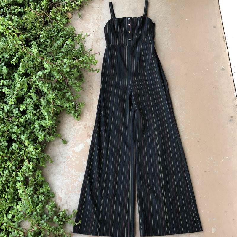 STAUD Black Stripe Jumpsuit, Size 8