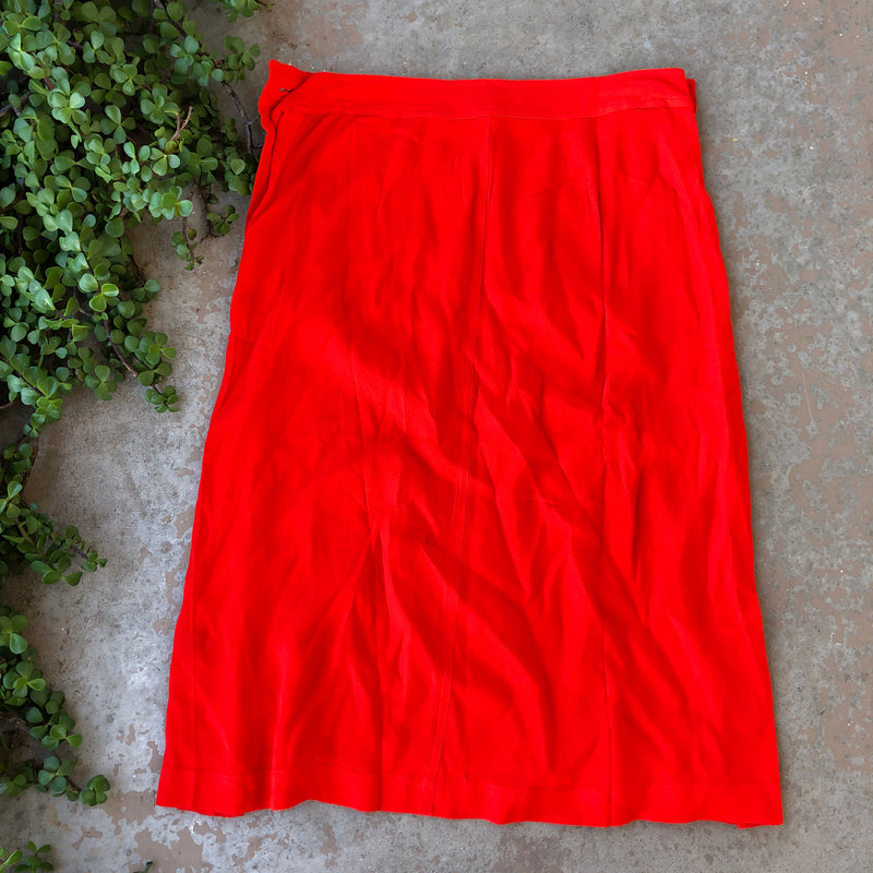 Madewell Red Midi Skirt, Size 6