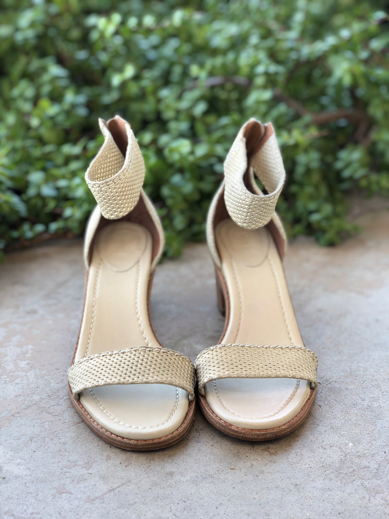 Frye Cream Block Heel Sandals, Size 10M