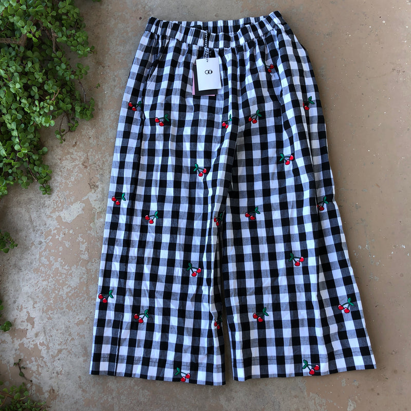 Lazy Oaf Gingham Cherry Pants, Size 12 (NWT)