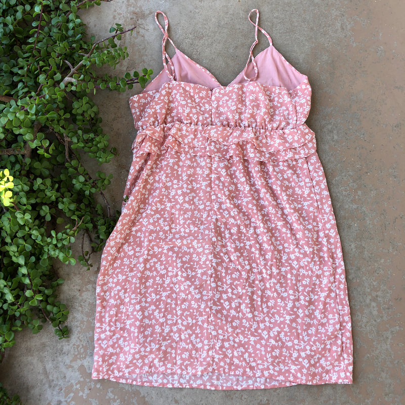 19 Cooper Pink Floral Mini Dress, Size Medium