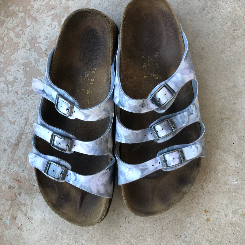Papillo Birkenstock Marble Gray Sandals, Size 8