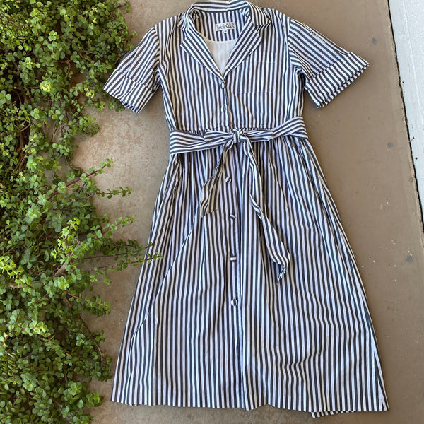 Vintage Cotton Stripe Midi Dress, Size 10