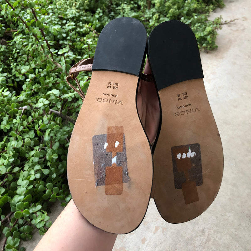 Vince Leather Sandals, Size 8