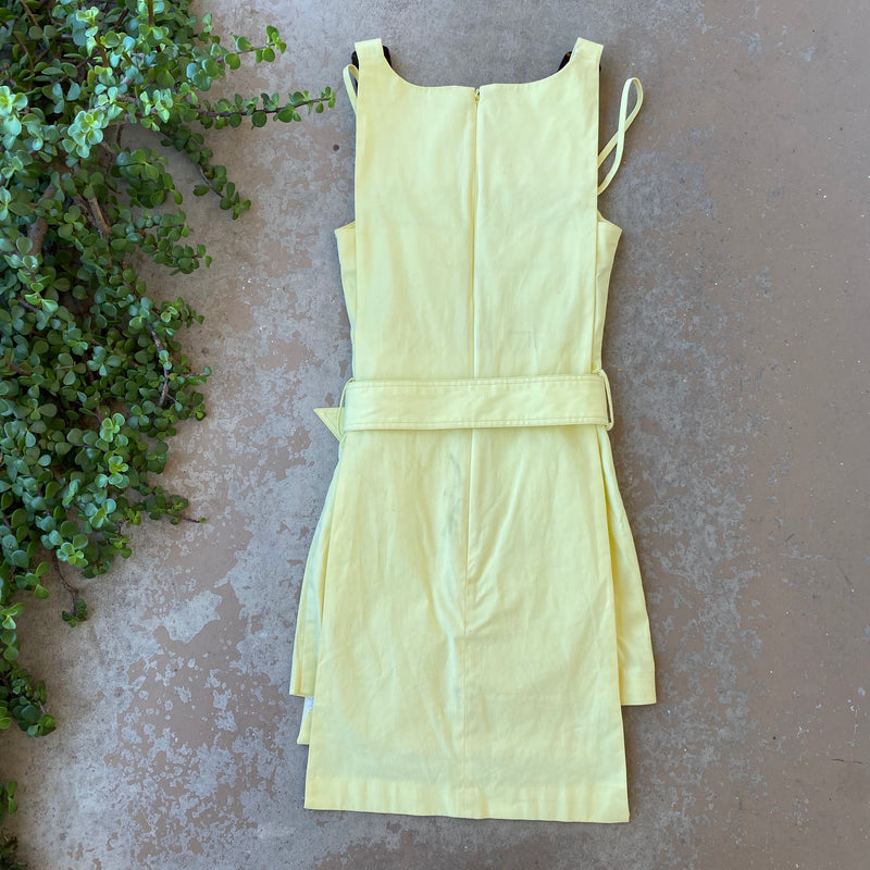 STAUD Yellow Wrap Dress, Size 0