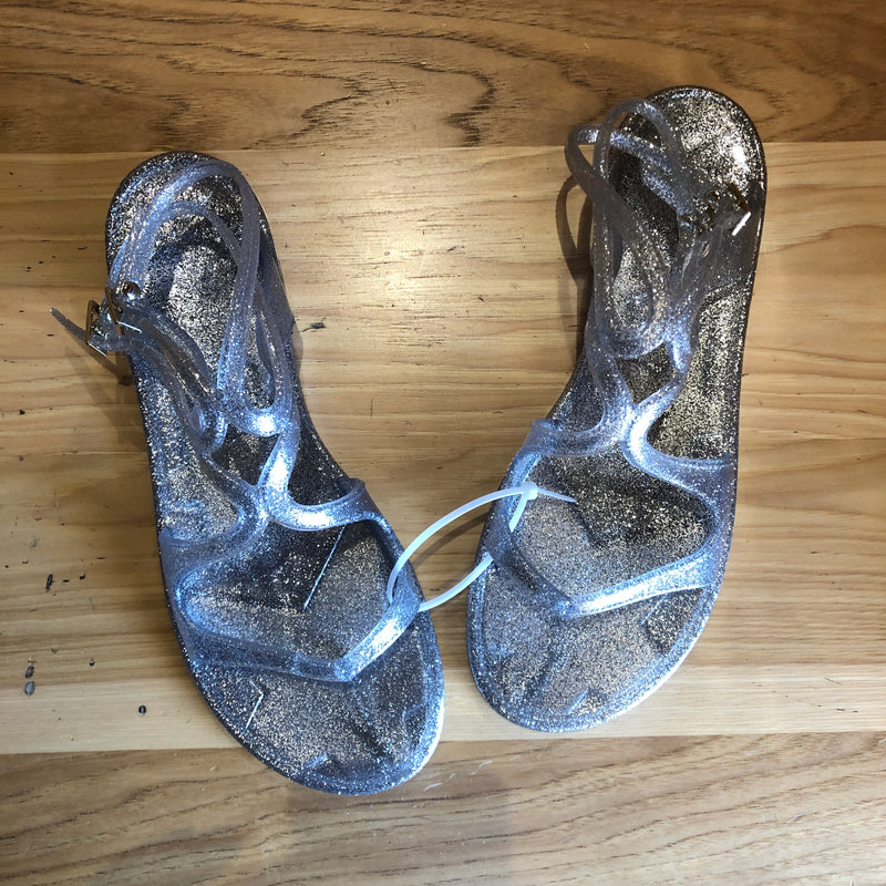 Jimmy Choo Silver Glitter Jelly Sandals, Size 41