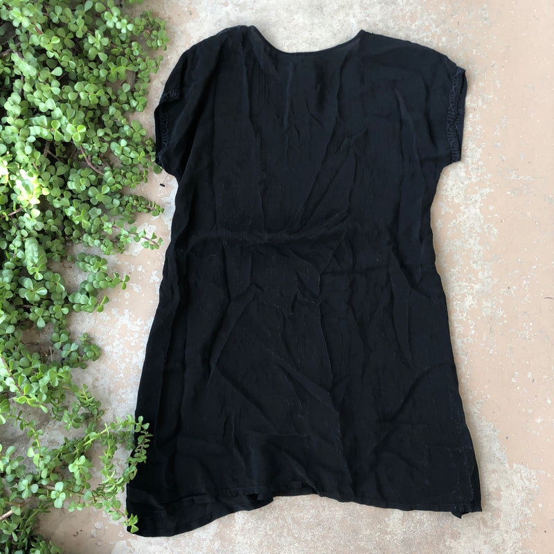 Johnny Was Black Embroidered Tunic Dress, Fits XS/S
