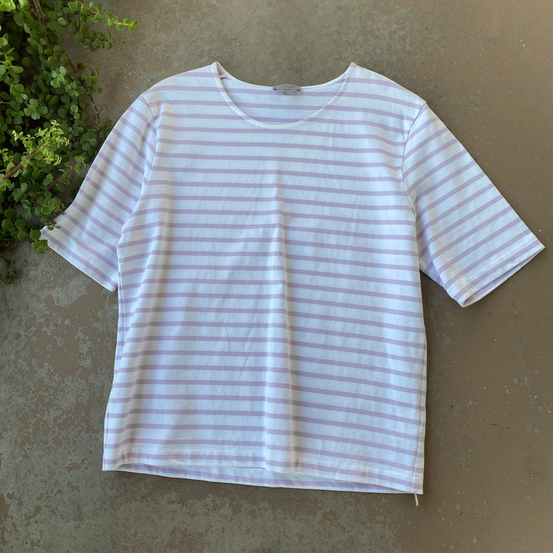 COS Lavender Stripe Boxy Sweater, Size Large