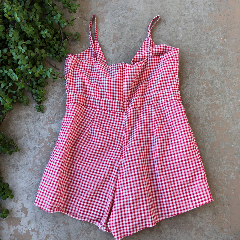 Poof New York Red Plaid Romper, Size Large