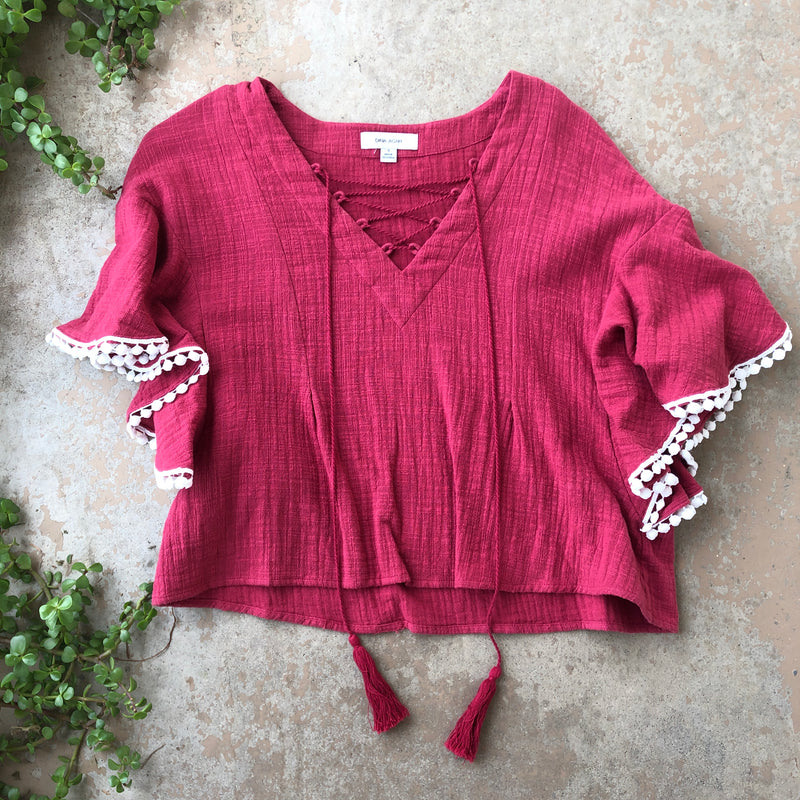 Dina Agam Anthropologie Red Tassel Top , Size Small