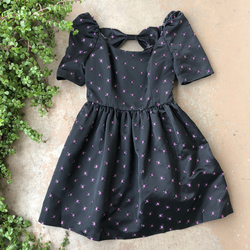 Gal Meets Glam Black Flower Bow Dress, Size 6