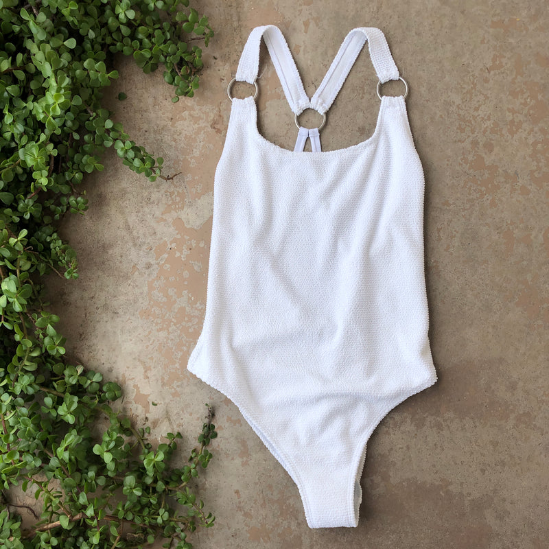 Something Navy White One Piece Swimsuit, Size Large