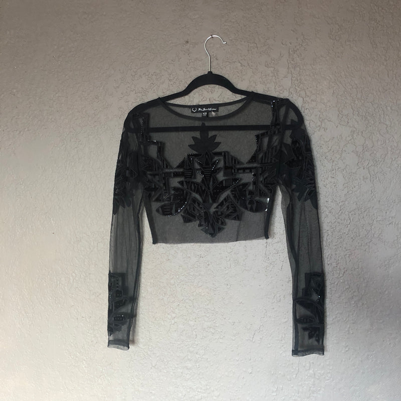 For Love & Lemons Black Mesh Velvet Detail Top, Size XS