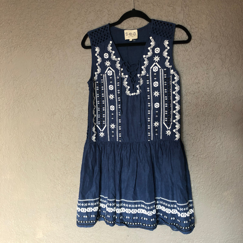 Sea NY Blue Embroidered Dress, Size 0