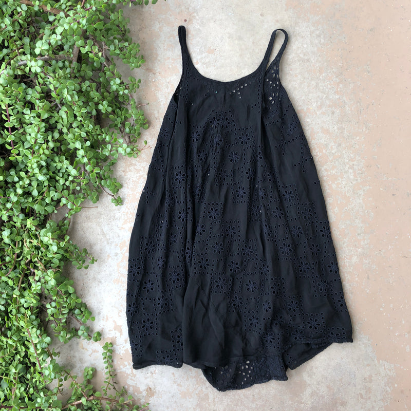 Johnny Was Black Eyelet Dress, Size Small