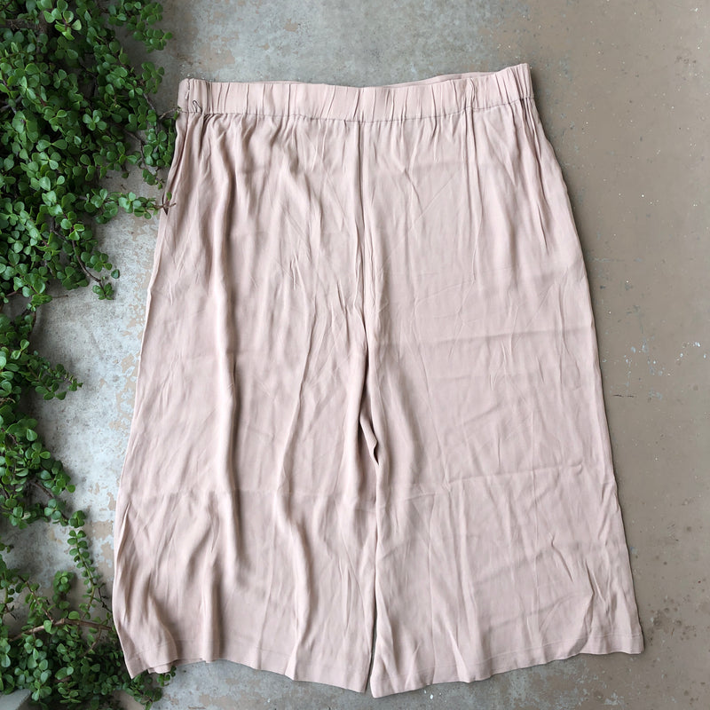 Leith Tan Wide Leg Crop Pants, Size 3X